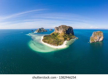 Aerial drone view of beautiful tropical Poda Island in Thailand