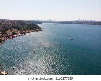Aerial Drone View of Beykoz Pasabahce in Istanbul Seaside / Turkey.