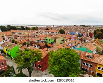 Aerial Drone View of Burano Island in Italy