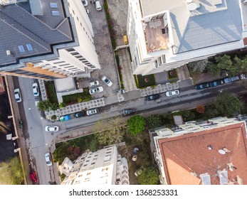Aerial Drone View of City, Buildings and Streets