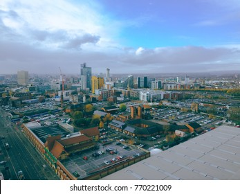 aerial drone view of city centre Manchester UK