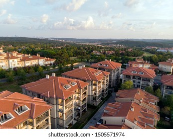 Aerial drone view city life and Gokturk Houses at sunset in Kemerburgaz Eyup Turkey