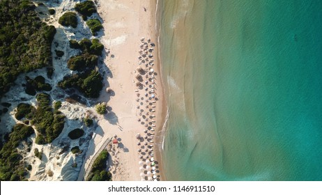Aerial drone view of clear water sandy shore and natural protected hatchery of Caretta-Caretta sea turtles, Zakynthos island, Ionian, Greece