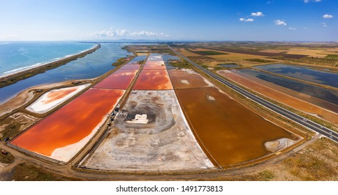Aerial drone view of colorful salt marsh near to Pomorie, Bulgaria