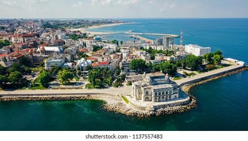 Aerial Drone View Of Constanta City At The Black Sea In Romania