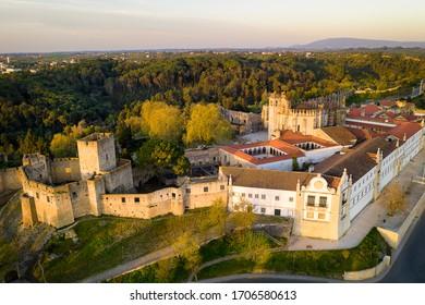 Aerial drone view of Convento de cristo christ convent in Tomar at sunrise, Portugal