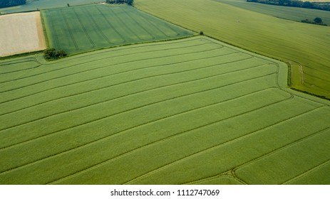 Aerial drone view of cultivated farmland and fields during the summer in Wales, UK