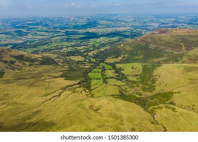 Aerial drone view of the Cwm Llwch valley on the slopes of Pen-y-Fan mountain in Wales