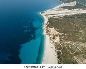 Aerial drone view of Drymades Beach, Dhermi (Albanian Riviera, Albania)