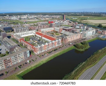 Aerial (drone) view of Europakwartier, Almere Poort, The Netherlands. The Europa kwartier is the middle of Almere Poort.