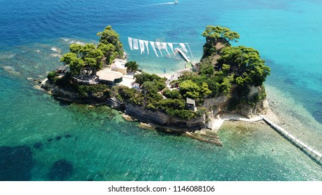 Aerial drone view of famous islet of Cameo in Agios Sostis area of Laganas, Zakynthos island, Ionian Greece