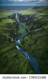 Aerial drone view of Fjadrargljufur Canyon valley in South Iceland. Icelandic nature landscape from above