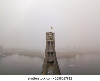Aerial drone view. Flag of Ukraine on the North Bridge in Kiev.