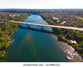 Aerial Drone View of Folsom river and bridges
