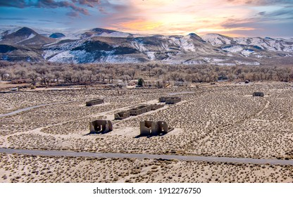 Aerial drone view of Fort Churchill, USA, Ruins of a United States Army fort and a way station on the Pony Express route in Lyon County Nevada.