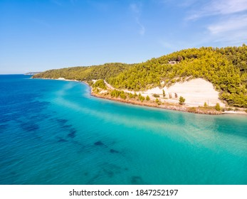 Aerial drone view of Fourka Skala sea and pine forest in Halkidiki, Greece - Shutterstock ID 1847252197