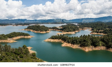 Aerial Drone View of Guatape Colombia