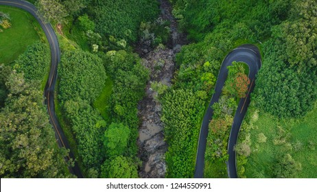 An aerial drone view of Hana Highway on the Road to Hana in Maui, Hawaii.