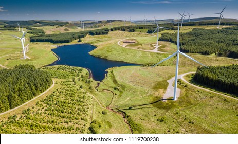 Aerial drone view of a huge wind farm at Pen y Cymoedd in South Wales, UK