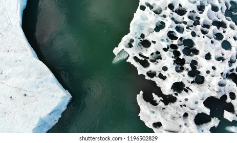 Aerial drone view of icebergs and glaciers in Iceland