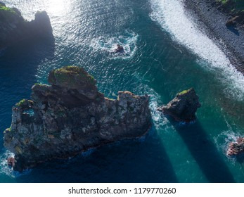 Aerial drone view of Janela Islets in Porto Moniz in Madeira