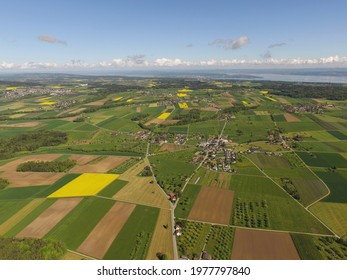 aerial drone view of landscape with lake Bodensee at Erlen in Thurgau Switzerland. CH 15th May 2021