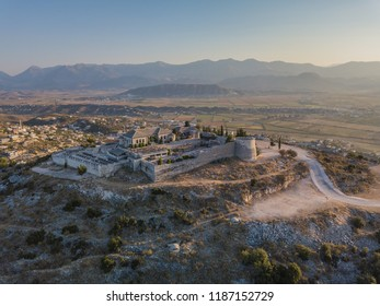 Aerial drone view of Lekuresi Castle located in Saranda, Vlora, Albania (South Albania)