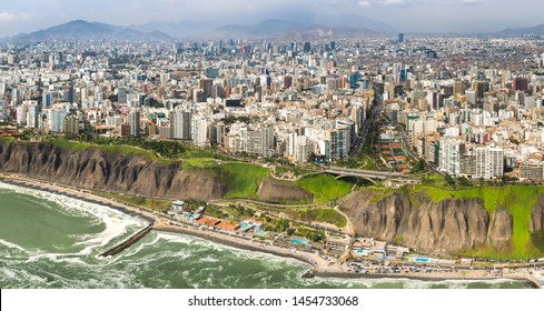 Aerial drone view of Lima city. Capital and main city of Peru. with 10 millions of people.