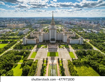Aerial drone view of Lomonosov Moscow State University on Sparrow Hills, Moscow, Russia. Scenic panorama of Moscow with the Main building of MSU from above. Moscow skyline on a sunny summer day.