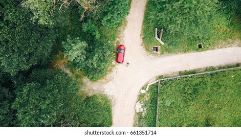 Aerial Drone View Of Lost Travelers In Forest