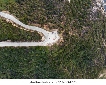 Aerial Drone View of Mountain Way in Forest at Erdek Turankoy / Balikesir Turkey