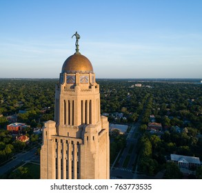 Aerial drone view of Nebraska State Capitol Building