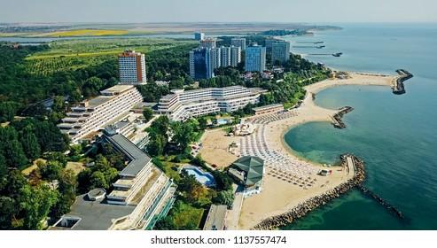 Aerial Drone View Of Neptun-Olimp Resort At The Black Sea In Romania