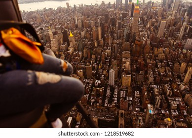 Aerial drone view  of new york city.