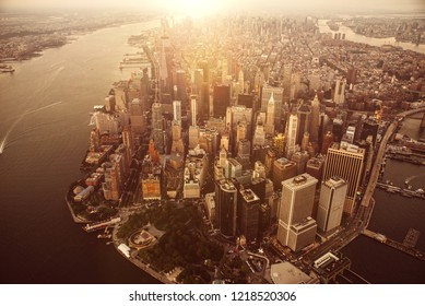 Aerial drone view  of new york city