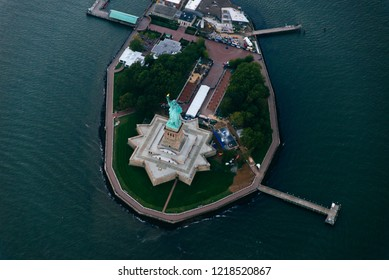 Aerial drone view  of new york city.  Statue of liberty