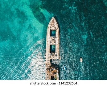 Aerial Drone View Of Old Shipwreck Ghost Ship Vessel