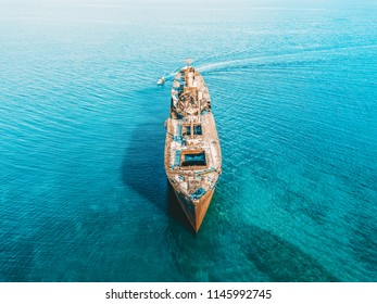 Aerial Drone View Of Old Shipwreck Ghost Ship