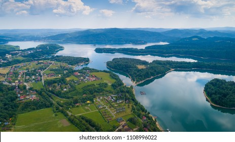 Aerial drone view on beautiful Solina lake in Polish Bieszczady Mountains. Solina, Poland