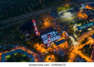 Aerial drone view on black coal mine in Katowice. Katowice, Silesia, Poland