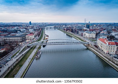 Aerial drone view on bridge over Vistula river in Cracow. Cracow, Lesser Poland
