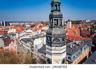 Aerial drone view on church tower in Zielona Gora. Zielona Gora is the largest city in Lubusz Voivodeship in western Poland