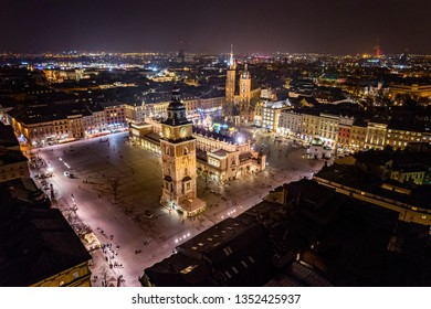 Aerial drone view on Cracow main square at night. Cracow, Lesser Poland province