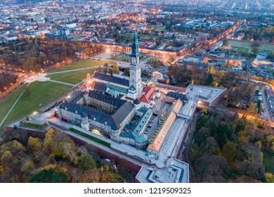 Aerial drone view on Czestochowa and Jasna Gora monastery. The Jasna Gora Luminous Mount Monastery in Czestochowa Poland is a famous Polish shrine to the Virgin Mary