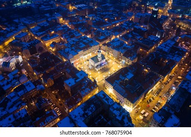 Aerial drone view on Gliwice old town and main square during winter night