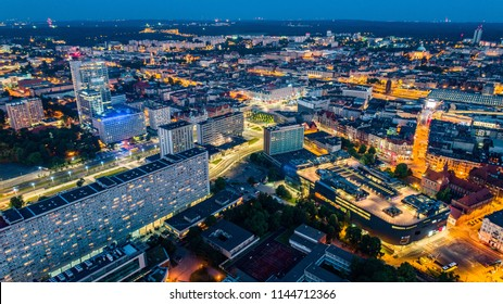 Aerial drone view on Katowice centre at night. Silesia, Poland