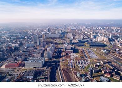 Aerial drone view on Katowice, Silesia, Poland