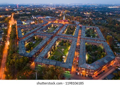Aerial drone view on Nikiszowiec coal miners' settlement and district in Katowice. Katowice, Silesia, Poland