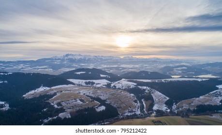 Aerial drone view on Polish Tatra mountains and Czorsztyn Lake. Kroscienko, Grywald, Poland