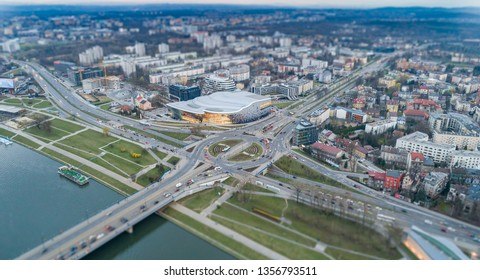 Aerial drone view on roundabout and bridge over Vistula river in Cracow. Cracow, Lesser Poland